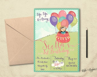 Adventure Is Out There Girl Birthday Invite- Oh The Places He'll Go -Custom Printable-5x7 or 4x6 Inches-