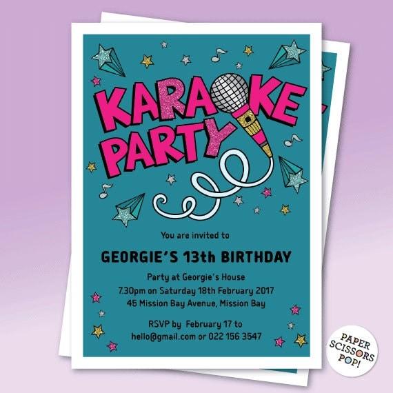 Karaoke invite editable invitation kareoke party invitation il570xn stopboris Choice Image