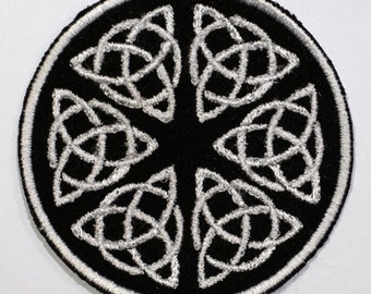 Celtic symbols, triquetra - embroidered patch, BUY3 GET4, 3,2 X 3,2 INCH