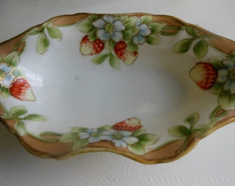Small Nippon Serving Bowl, hand painted and gilted, fruit and floral, vintage