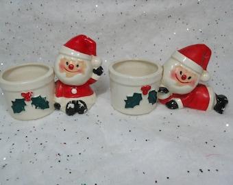 Vintage Holt Howard Christmas, Santa Candle Holders,  Set of 2