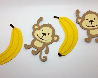 Monkey and Banana Banner, monkey party, jungle, photo prop, monkey decoration, jungle Birthday, banana decoration,