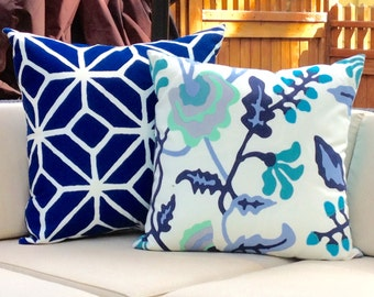 Pair of Designer Outdoor Pillows in Blue- Potala and Trellis Print