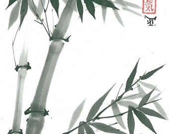 "Original Art ""Bamboo branch"" - Japanese sumi-e - asian painting - Wall decor - home decor - black and white - minimalist art"