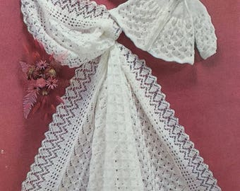 """UK/EU SELLER Pdf Vintage knitting instructions delicate lacy heirloom shawl matching matinee jacket in 3 or 4 ply. Shawl 42""""x42"""" Coat 17-19"""""""