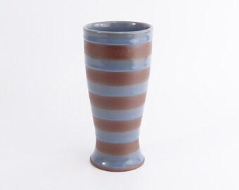 wheel thrown stoneware pint tumbler. Cocktail glass. Beer glass. Handmade purple and grey ceramic tumbler. ceramic drinking cup