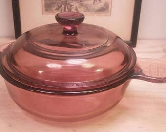 Vision Pyrex Amber Smaller Brown Casserole or Pan with Matching Lid in Excellent Condition!