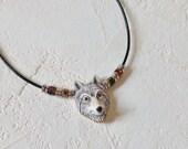 Gray Wolf Necklace, Wolf Jewelry, Ceramic Wolf Pendant Necklace, Animal Necklace, Animal Jewelry, Wolf Totem Necklace, Men's Wolf Necklace