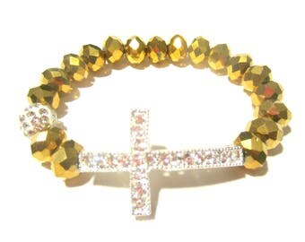 Gold Cross Bracelet. Cross Bracelet. Gold Bracelet. Sideways Cross. Spiritual Bracelet. Side Cross Bracelet. Cross Bangle. Spiritual Jewelry