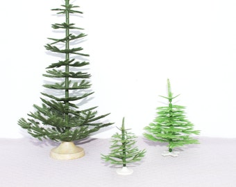 Miniature vintage Christmas trees Soviet vintage plastic christmas tree set Soviet christmas tree Small christmas tree Soviet Christmas