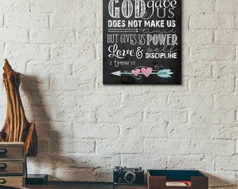 Scripture Art - 2 Timothy 1:7 ~ Chalkboard Style