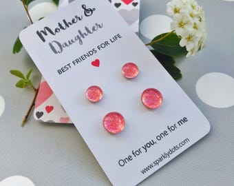 Mother daughter matching earrings - Gift for daughter - Mommy and me - Mom and daughter jewelry - Coral earrings - Surgical steel studs