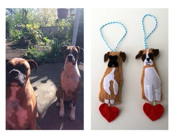 Personalized Stuffed Dog Ornament with Heart/ Customized Dog Plush Ornament with Heart