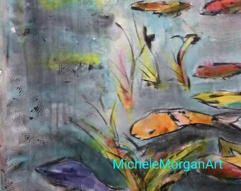 Original Silk Painting,Koi pond,one-of-a-kind watercolor art,hand painted silk,koi fish,landscape,lotus flower,Michele Morgan Art