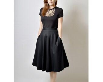 Black Midi Skirt, High Waisted Midi Skirt, Ready to ship