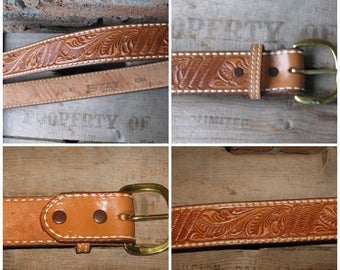 SALE Near New Vintage JUSTIN Hand Tooled Leather western Belt Cow Hide USA 34'' Length  37'' GoodYear Welt stitch, Brass Buckle