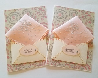 Happy Tears Mother Of The Bride Vintage Wedding Handkerchief Set Peach Pink Keepsake Gift Mother Of The Groom Thank You Hanky Accessory Card