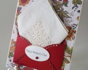 Elegant Tatted Linen Mother's Day Vintage Hankie Card Handkerchief Mom Wedding Accessory Keepsake Gift Happy Tears Hanky