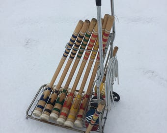Complete Vintage Rolling Croquet Set and Cart 1950's Antique Sport Caddy Toy