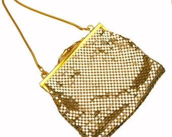 Gold Mesh Evening Purse- Signed  Impo - gold clutch bag