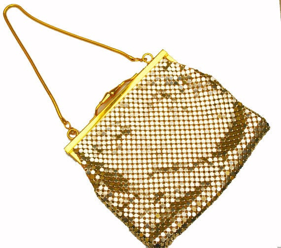 Gold Mesh Evening Purse- Signed  Impo - gold clutch - Hand bag