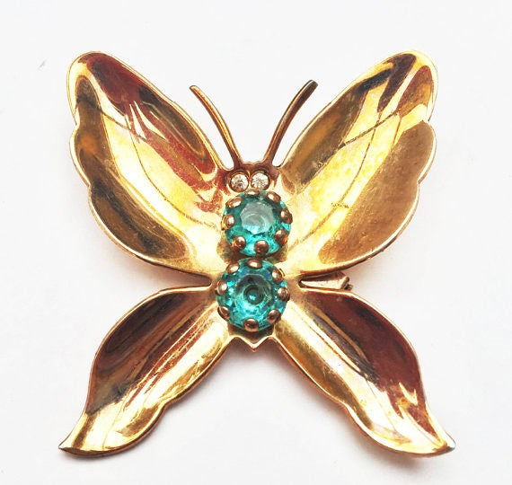 Butterfly Brooch - Blue Rhinestone - Gold plated metal - Insect figurine pin