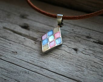 Vintage Sterling Silver Mother of Pearl Focal Pendant on Brown Leather Cord Diamond Shape Pendant Short