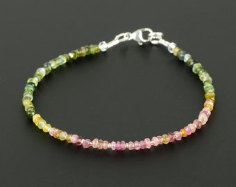 Faceted Watermelon Tourmaline Gemstone Bracelet w Tiny Gold Beads, Boho Skinny Bracelet, Multicolor Stackable Bracelet, Genuine Gemstones