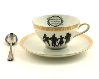 Unique Friendship Gift, The Wizard of Oz, Dorothy, Friendship Cup, Friendship Quote, Silhouette, Vintage Porcelain Cup, Quote, Frank Baum