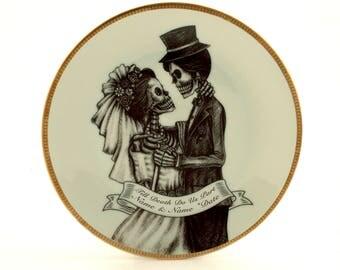 "Personalized Wedding gift, Halloween Wedding, Till Death Do Us Part, Bride Groom Skeleton, Customized Wedding, Vintage Porcelain Plate 7.48"""