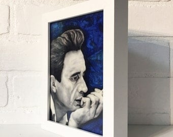 "Johnny Cash Smoking 5""x7"" Framed Art Print- Desk Art, Wall decor"