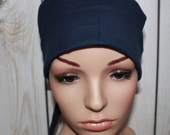 Navy, Surgical Scrub Hat,Mini Chemo Style Hat  Women's Surgical Scrub Cap,OR Nurses Hat, Vet , Biker