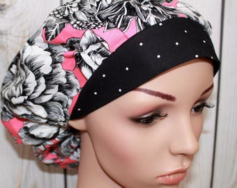 Pink Flower Shop with Black Polka Dot Band,Bouffant Women's Scrub Hat, Surgical Scrub Hat, OR Nurses Scrub Hat, Scrub Cap