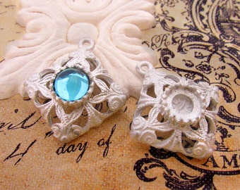 Matte Raw Cast Pewter Ornate Filigree with 9mm Center Setting Pendant - 1
