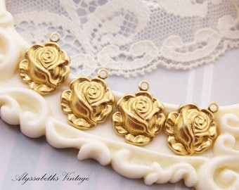 Vintage Style Victorian Rose Charm 1 Ring Brass Flower Stamping Drop - 6