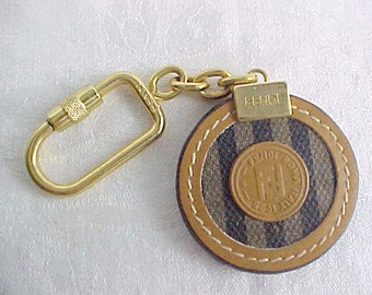 Vintage FENDI Key Chain - Penguin Stripe Canvas and Leather Round Key Ring - Gold Plated Metal Hardware - 1980s Italian Design - Gift Idea