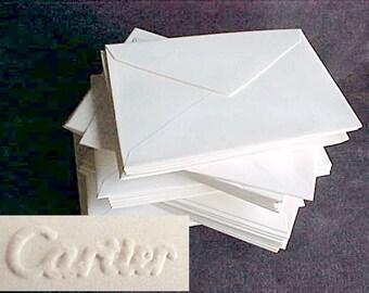 "Vintage Cartier Blank Envelopes - A1 - 4 Bar - 4 7/8"" x 3 1/2"" - Euro Flap - Cranes Rag Paper - Aged Ecru Pale Ivory - 75 envelopes"