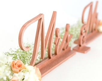 Copper Mr and Mrs Sign, Mr and Mrs, Wedding Signs, Mr and Mrs Signs, Bride and Groom Signs, Sweetheart Table Sign