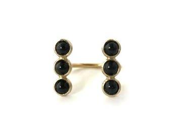 Black Onyx Double Trio Open Ring