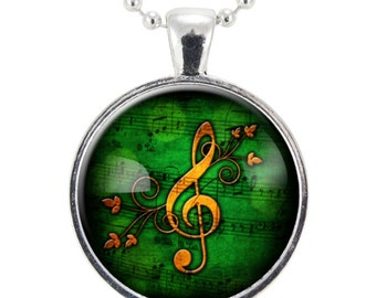 G-Clef Necklace, Music Note Jewelry (0899S25MMBC)