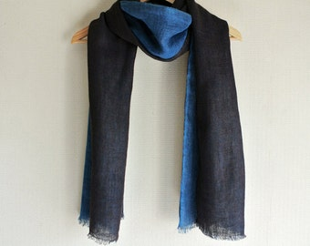 Natural dyed  Indigo blue and deep gray double faced Linen scarf