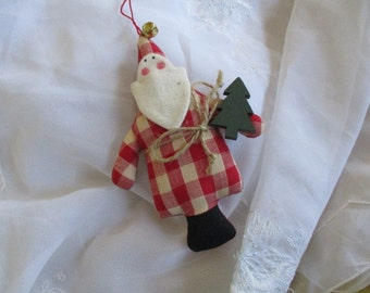 Handmade Muslin Santa Ornament  Very good Christmas Decor Santa Collectible Santa Claus China Galore