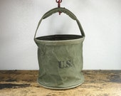 ON SALE Vintage Military Collapsible Bucket Pail / Made of Canvas