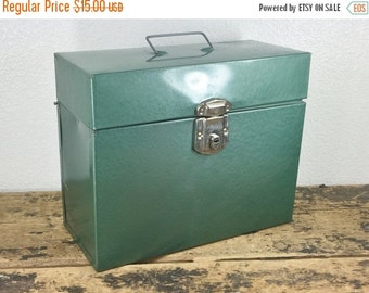 ON SALE Industrial Green Metal File Box / Storage Container