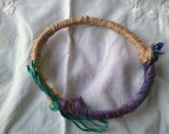 Silk fabric bangle bracelet in green purple and beige
