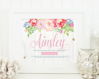Watercolour Flowers Nursery - Name Meaning Art - Name Meaning Baby - Baby Room Name Art - Personal Baby Gift - Personalized Name Baby Gifts