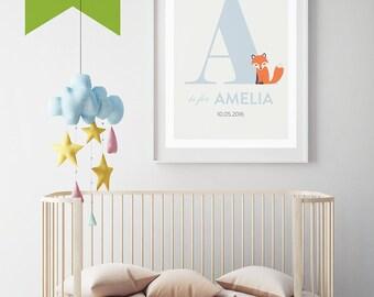 Customised Nursery Name Wall Art: Fox Monogram Baby Boy Baby Girl Typography Printable PDF Download