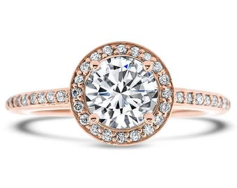 Diamond Halo Moissanite Engagement Ring - Fleur De Lis