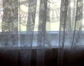 """One Pair Ivory Color Lace Curtain with classic Floral and Scroll design 60"""" x 63"""""""