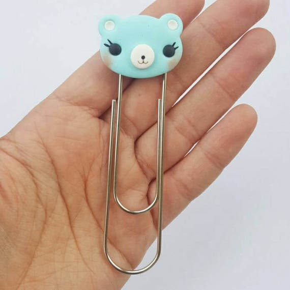 Kawaii Bear Bookmark Clip, Bookmarker, Planner Accessory, Polymer Clay Charm, Polymer Clay, Fairy Kei, Kawaii, Chibi, Clay Charm